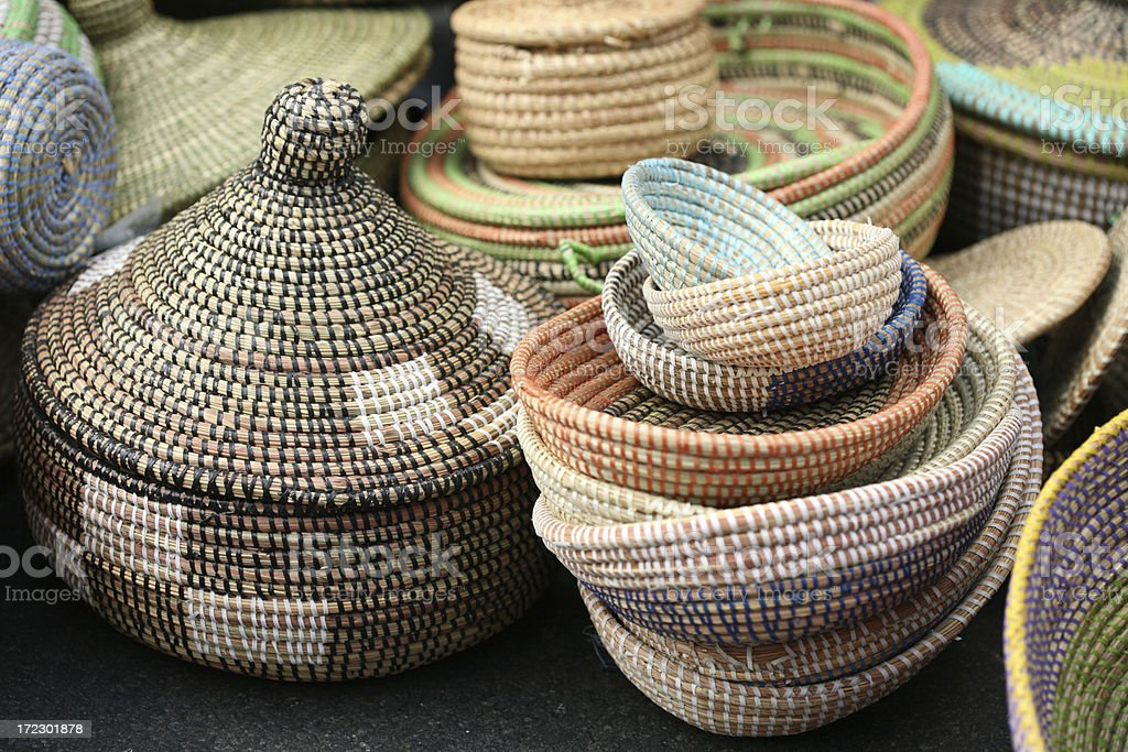 Colorful handmade African Sea Grass Baskets royalty-free stock photo