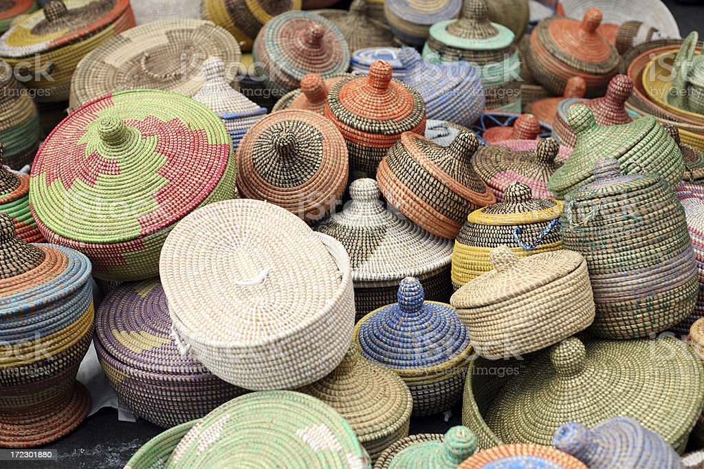 Colorful handmade African Sea Grass Baskets stock photo