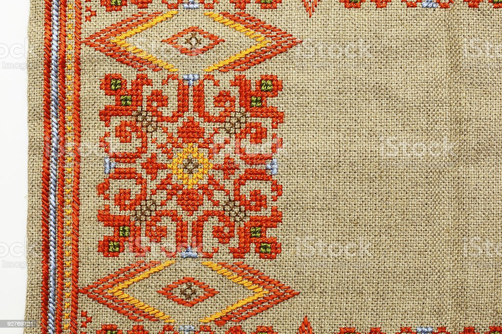 Colorful handmade broidery background stock photo
