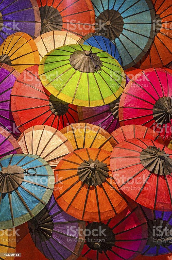 Colorful handmade Laos parasols royalty-free stock photo