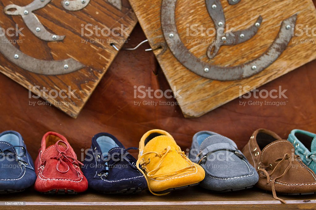 Colorful hand-made shoes from Tuscany stock photo