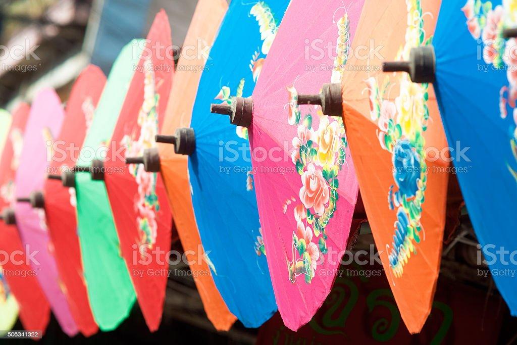 Colorful handmade umbrella's Bo Sang village stock photo
