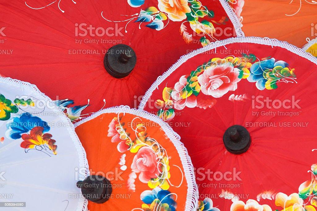 Colorful handmade umbrella's  Bo Sang village, province of Chang Mai stock photo