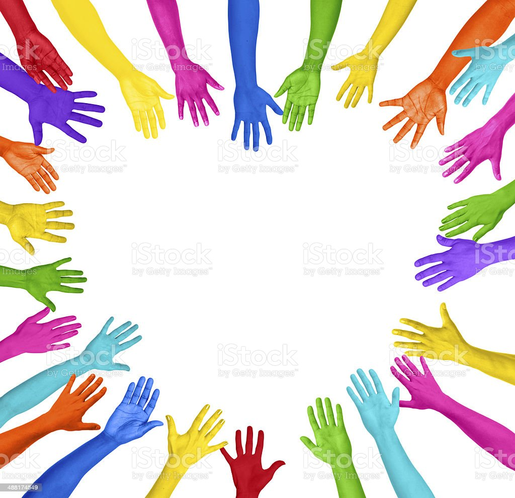 Colorful Hands Forming Heart Shape stock photo