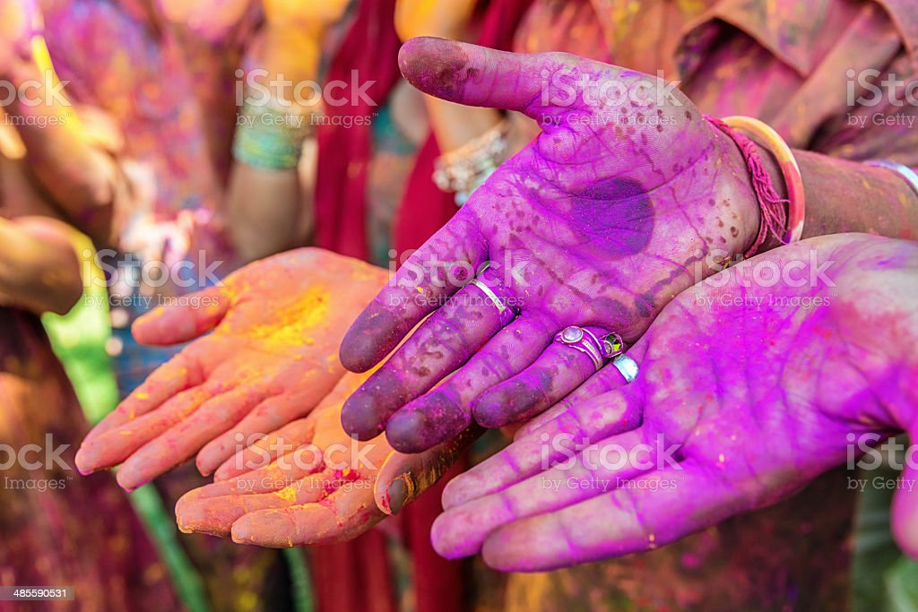 Colorful Hands Holi Festival in India royalty-free stock photo