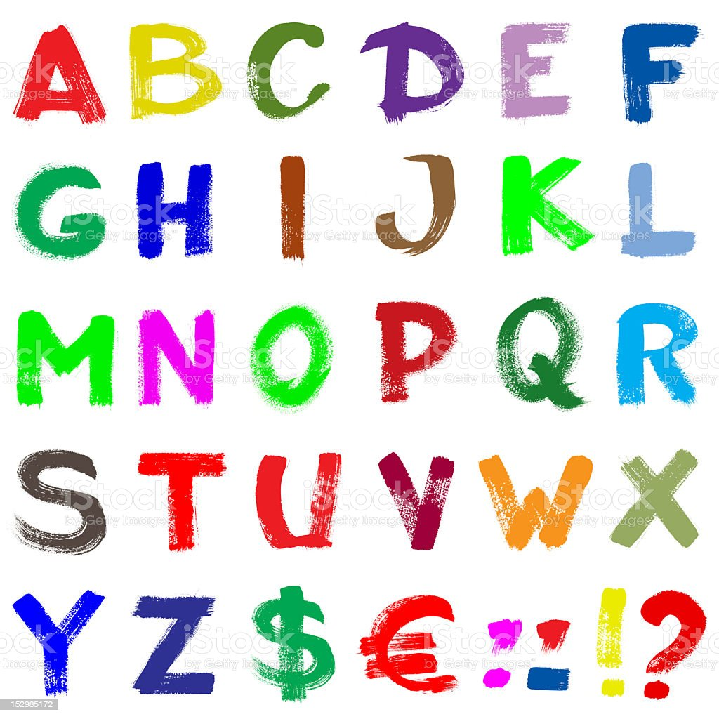 Colorful hand-written alphabet stock photo