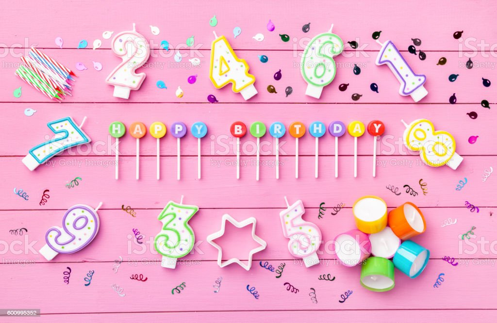 Colorful Happy Birthday background stock photo