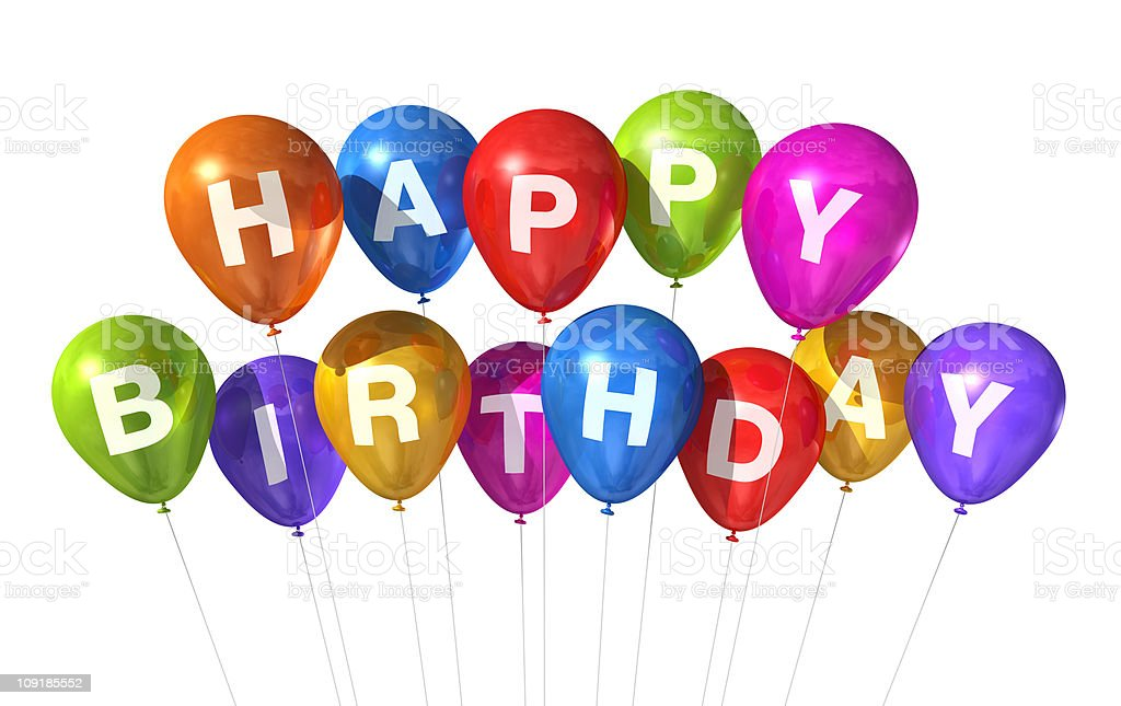 Colorful Happy Birthday balloons on a white background royalty-free stock photo