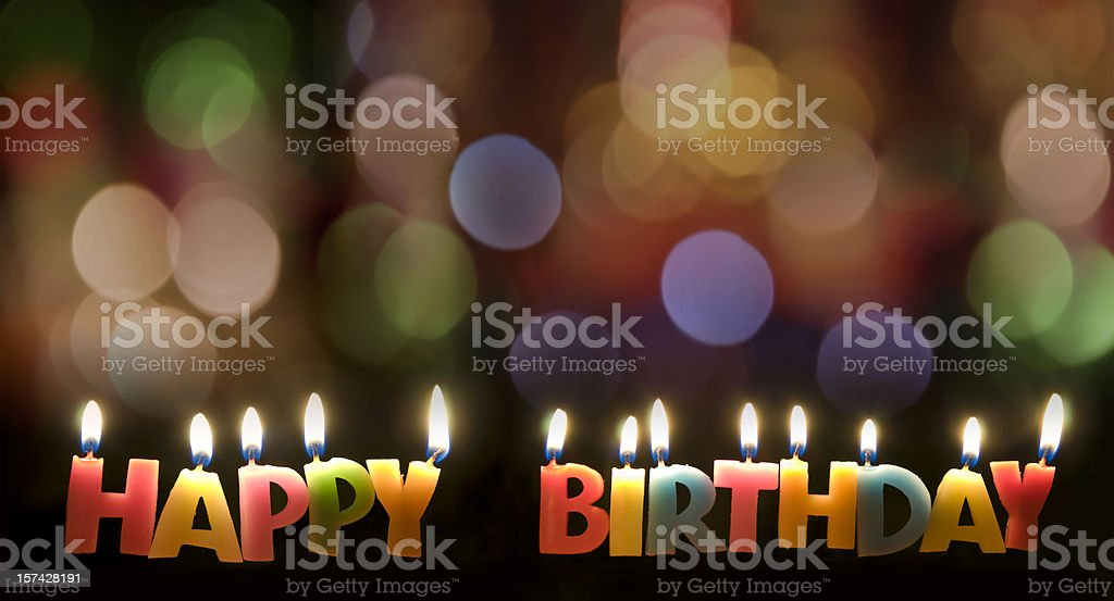 Colorful Happy Birthday Candles stock photo