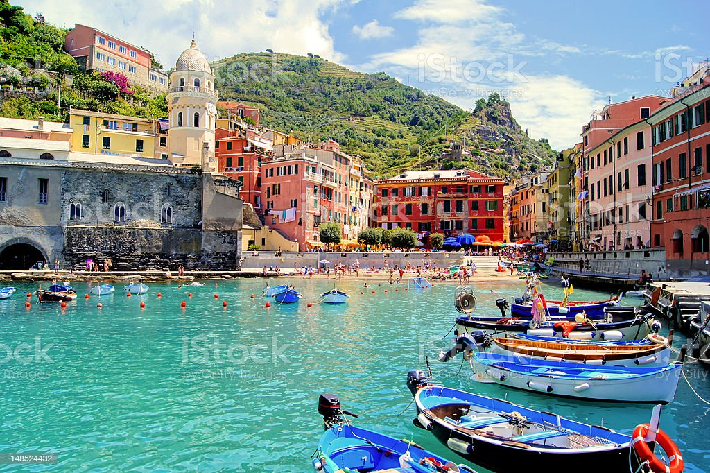 Colorful harbor, Vernazza, Cinque Terre, Italy stock photo