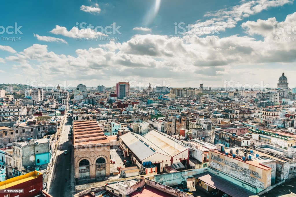 colorful Havanna citscape with Capitol at sunny day stock photo