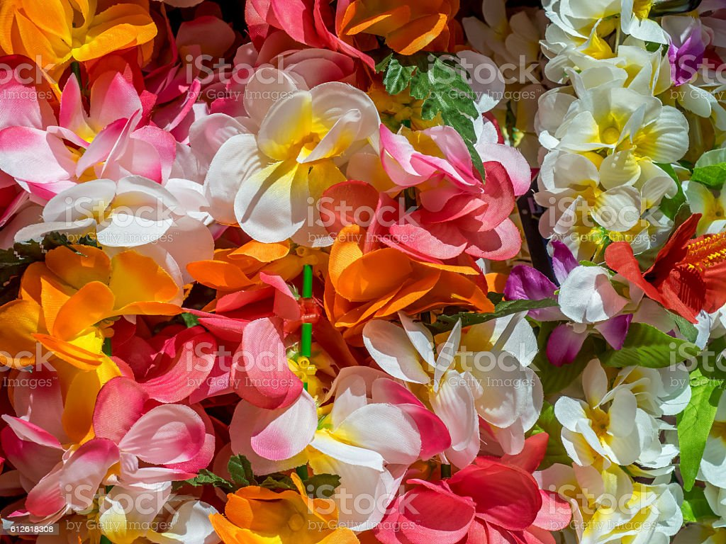 Colorful Hawaiian lei flowers stock photo