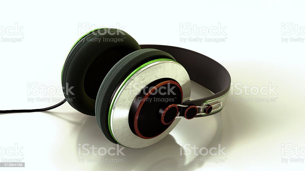 Colorful Headphones on reflective surface stock photo