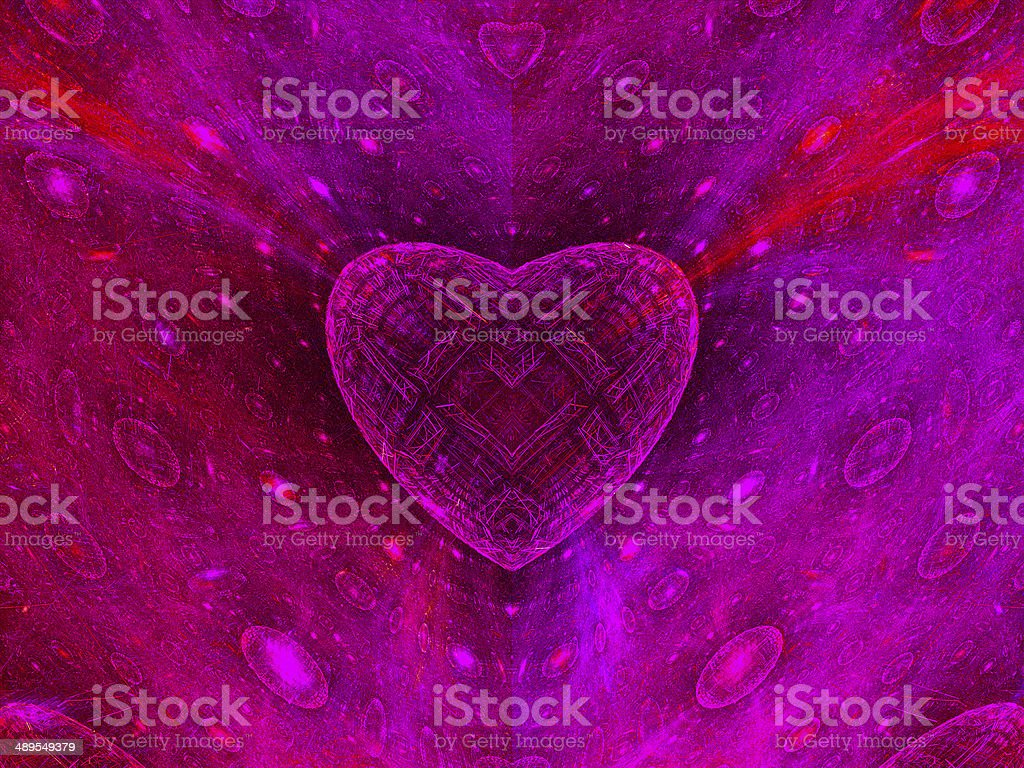 Colorful heart fractal background royalty-free stock photo
