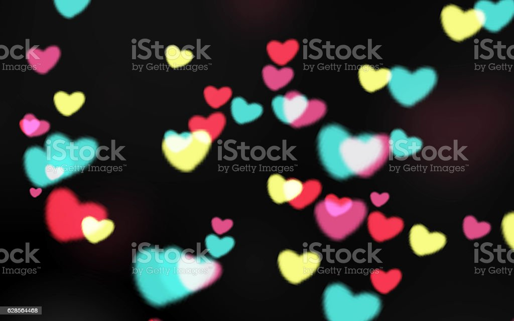 Colorful heart shape glowing light Bokeh texture background stock photo