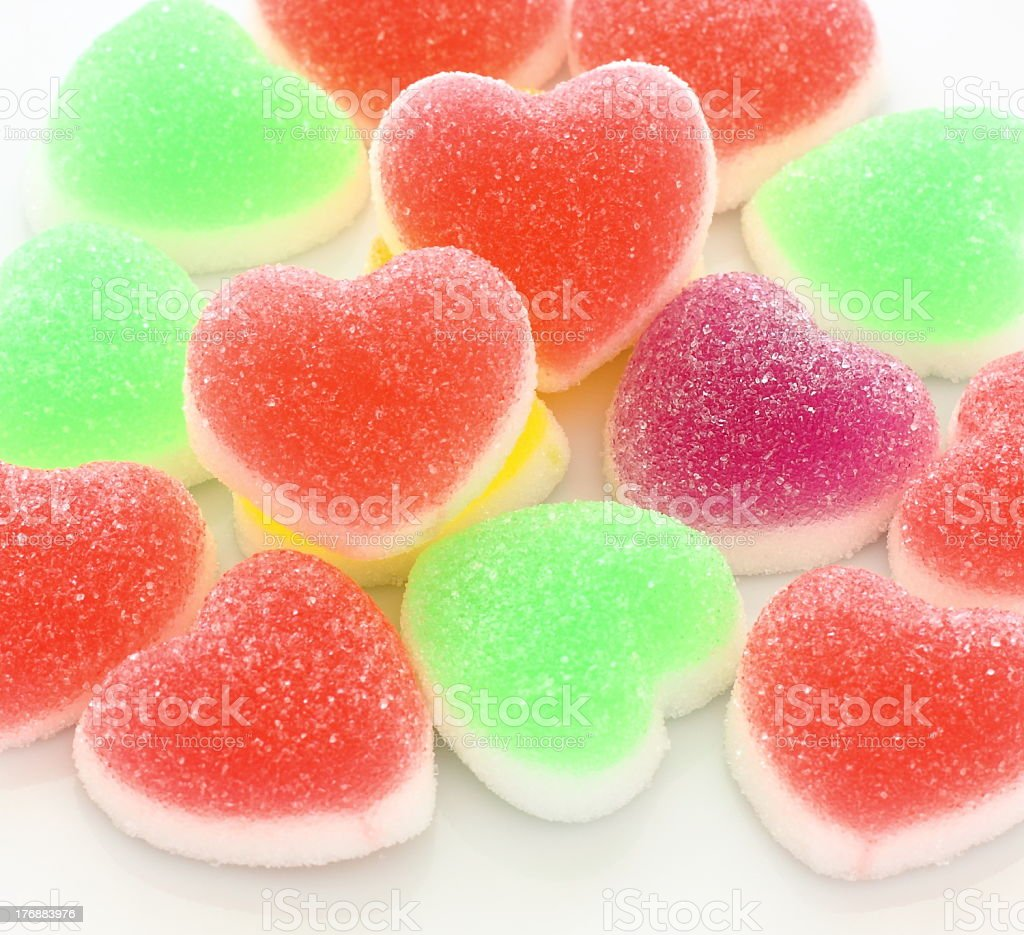 Colorful heart shape jelly coated with sugar royalty-free stock photo