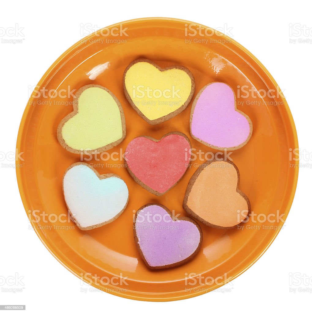 Colorful heart shaped love cookies stock photo