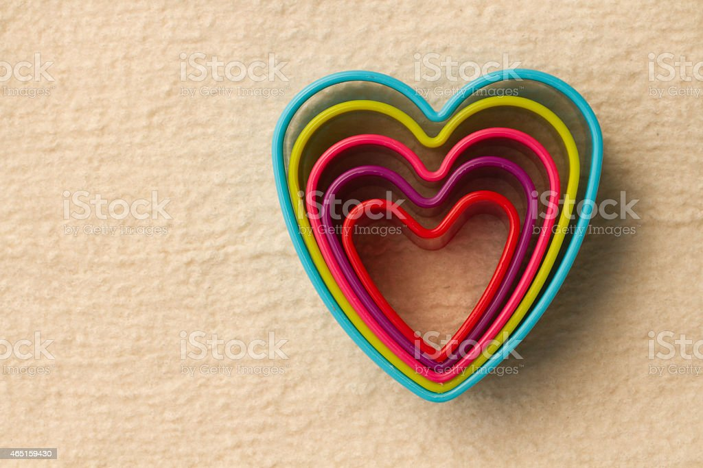 colorful heart shaped on fleece royalty-free stock photo
