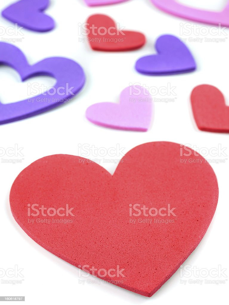Colorful heart shapes isolated on white royalty-free stock photo