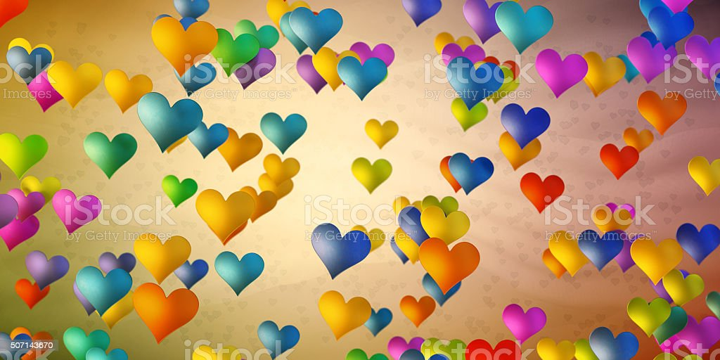 Colorful heart shapes on simple background stock photo