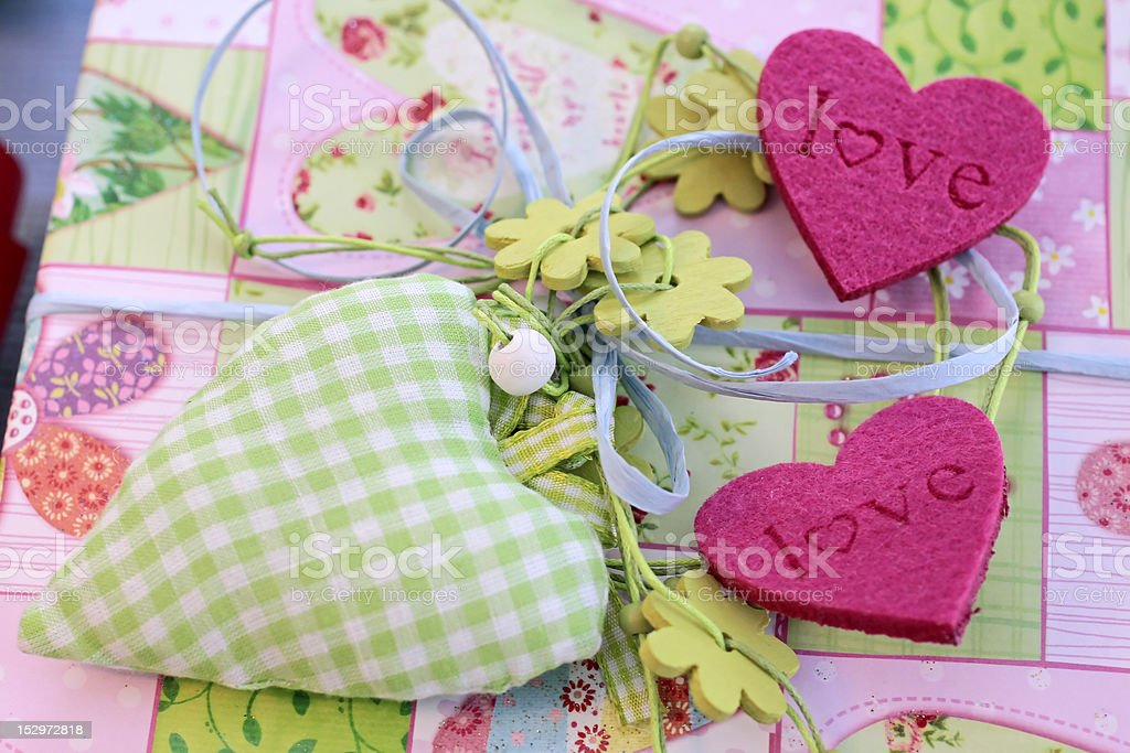 Colorful hearts for decoration stock photo