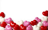 Colorful Hearts on White Background