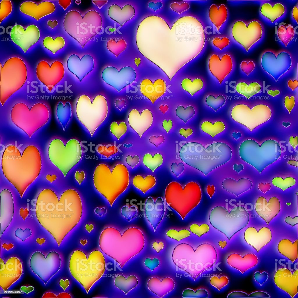 Colorful hearts texture stock photo