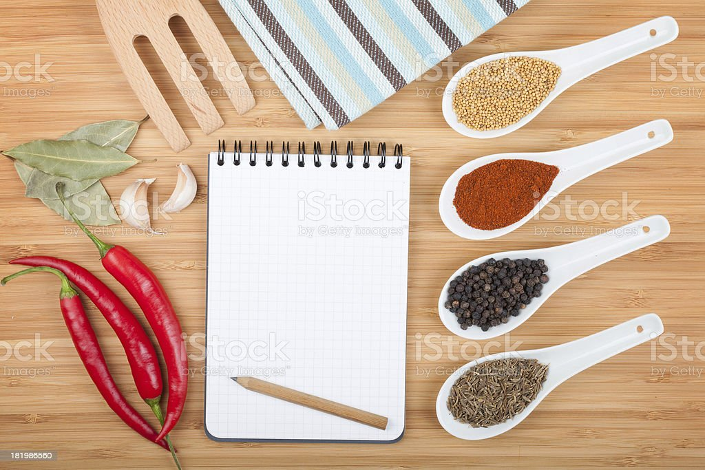 Colorful herbs and spices selection royalty-free stock photo