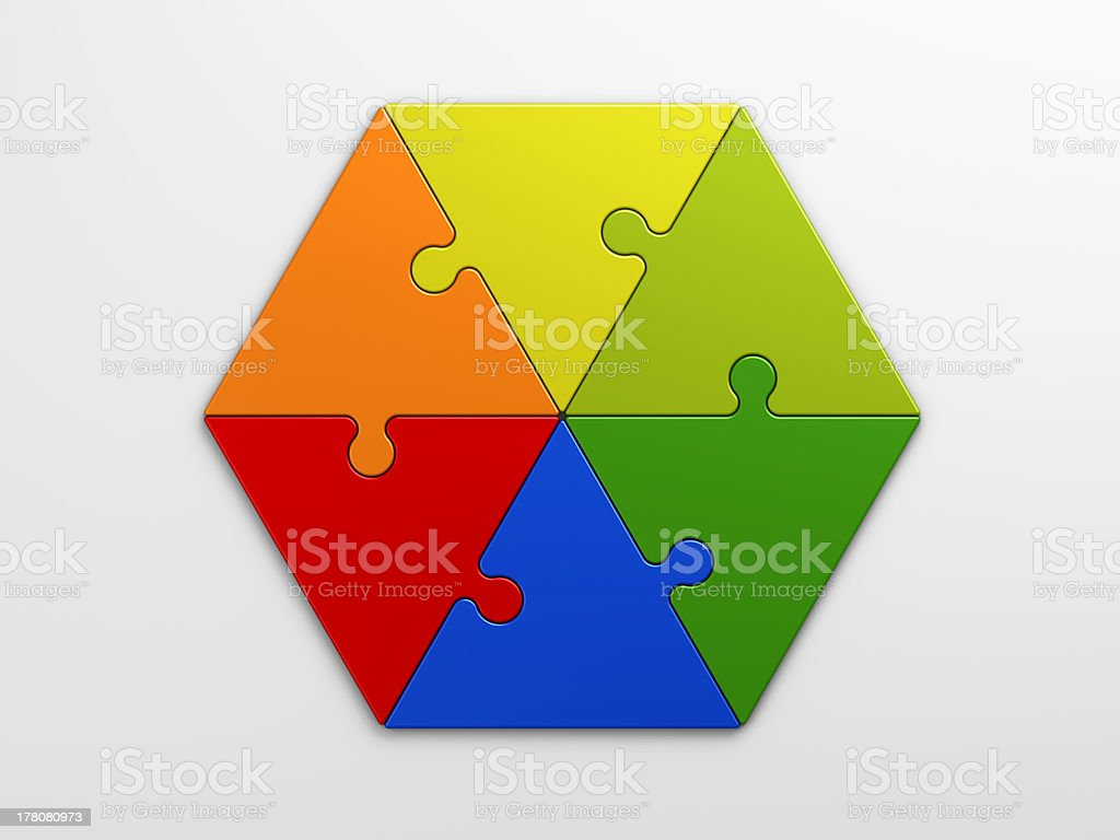 Colorful hexagon puzzle on a white background stock photo