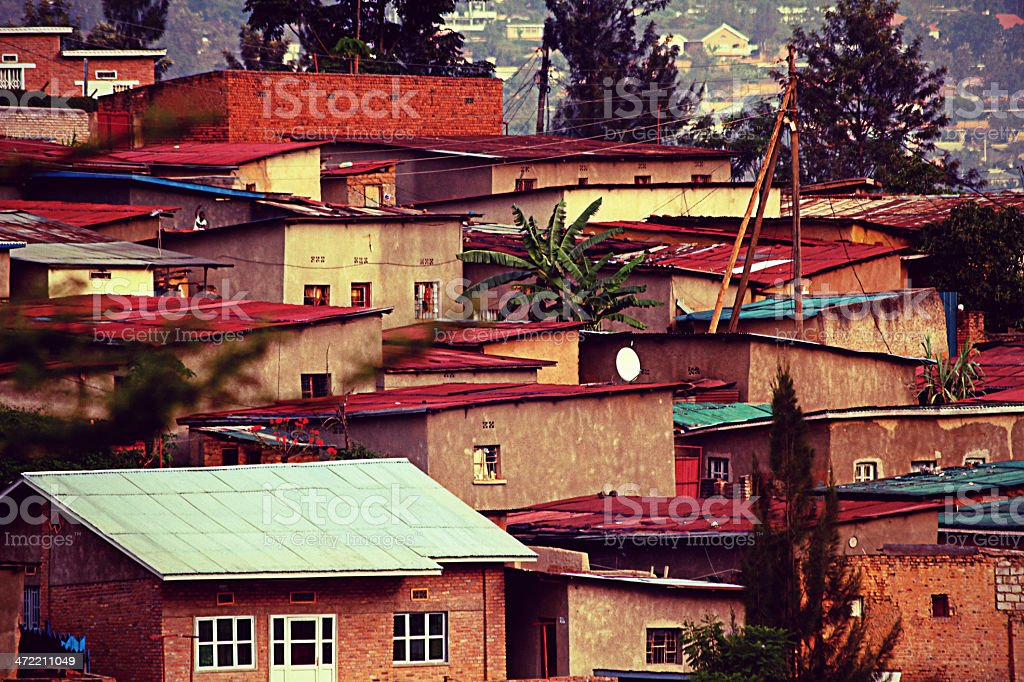 Colorful Hillside Homes Vintage stock photo