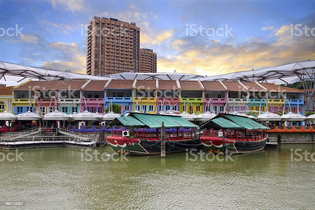 Colorful Historic Houses by River stock photo