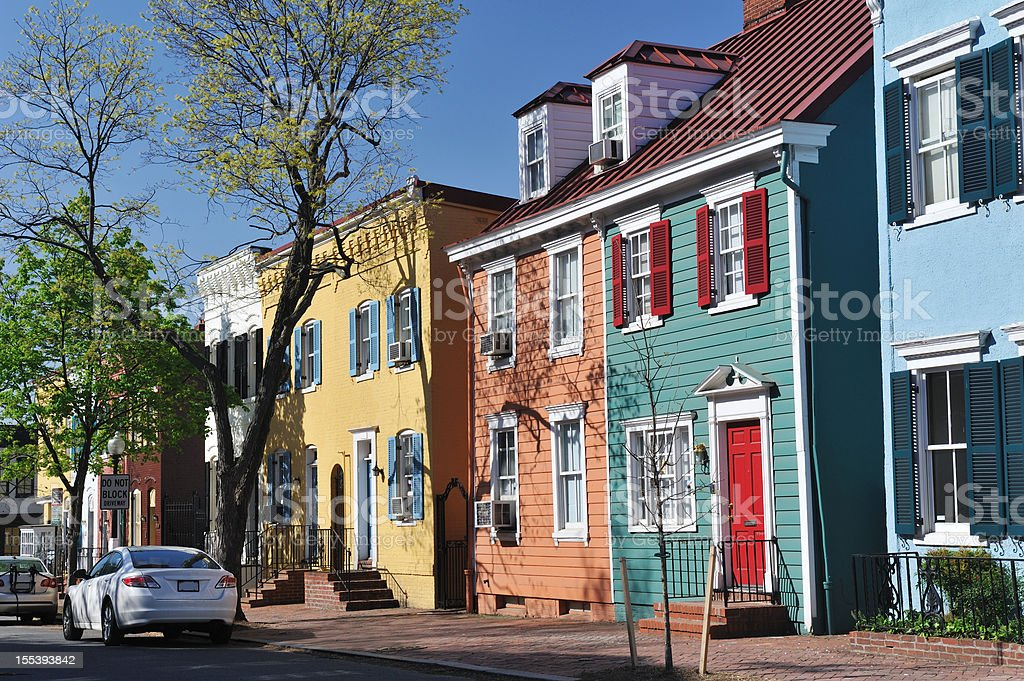 Colorful Historic Row Houses in Georgetown stock photo