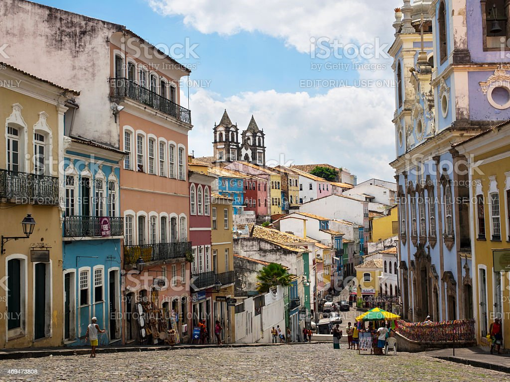 Colorful Historical Buildings in Pelourinho, Salvador, Bahia, Brazil stock photo