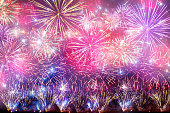 colorful holiday fireworks on the night sky