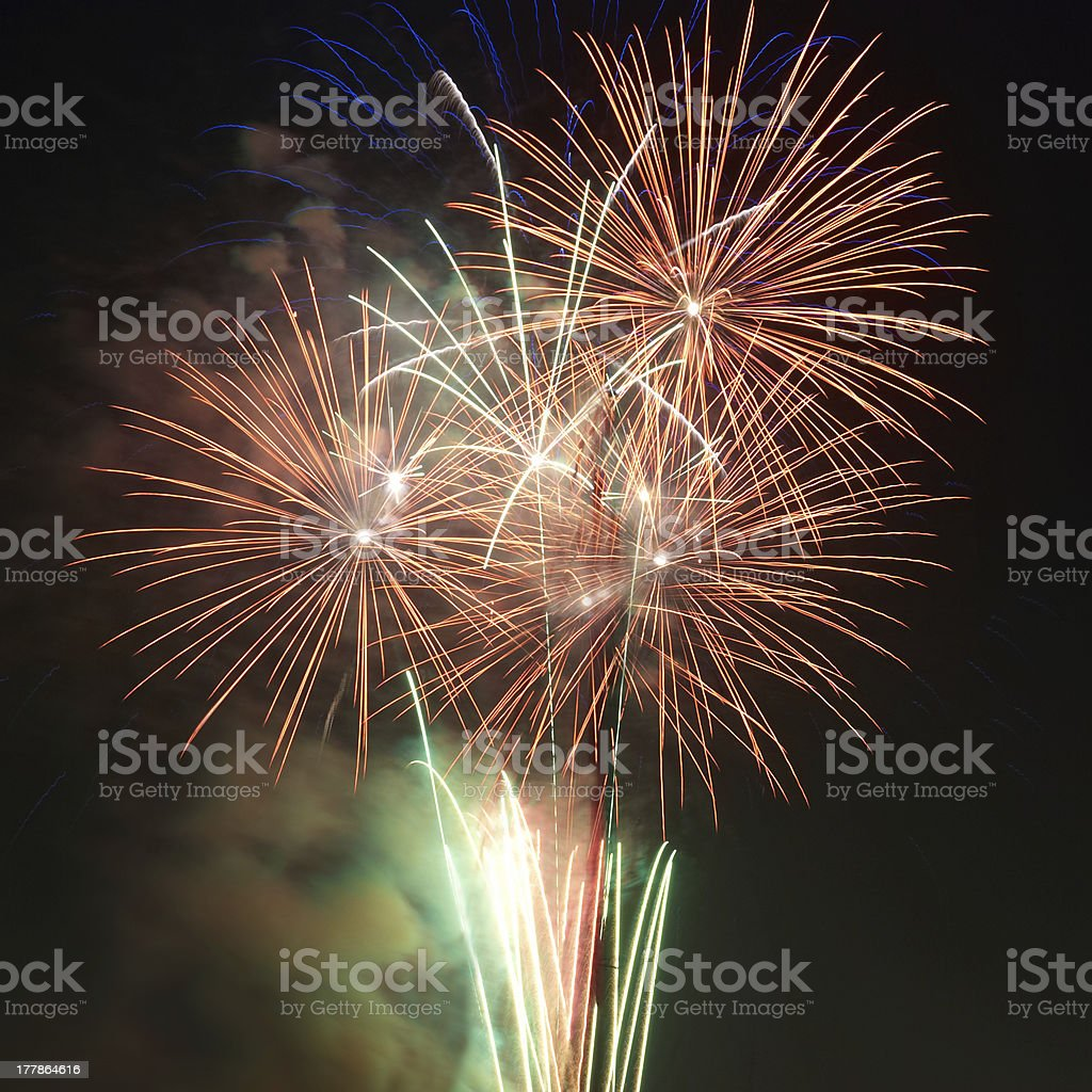 Colorful holiday fireworks royalty-free stock photo