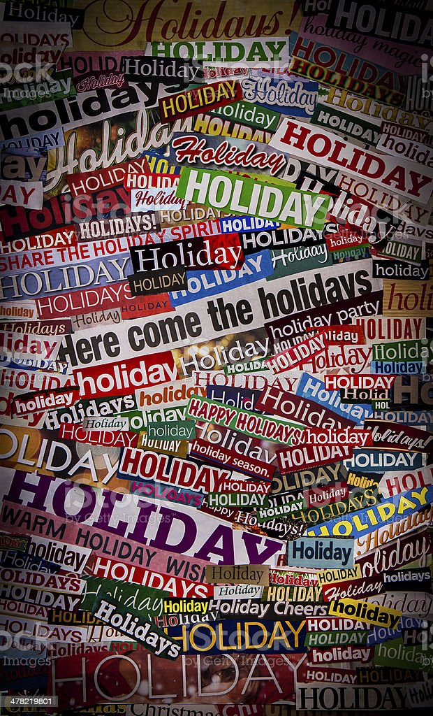 Colorful HOLIDAYS newspaper collage stock photo