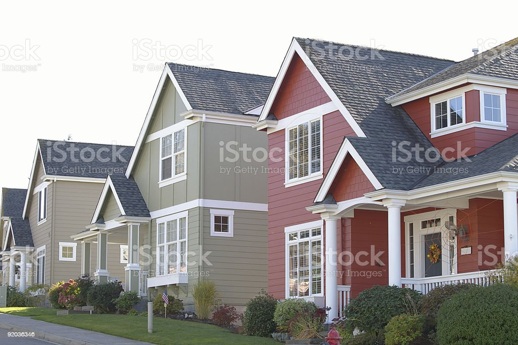 colorful homes in a row royalty-free stock photo