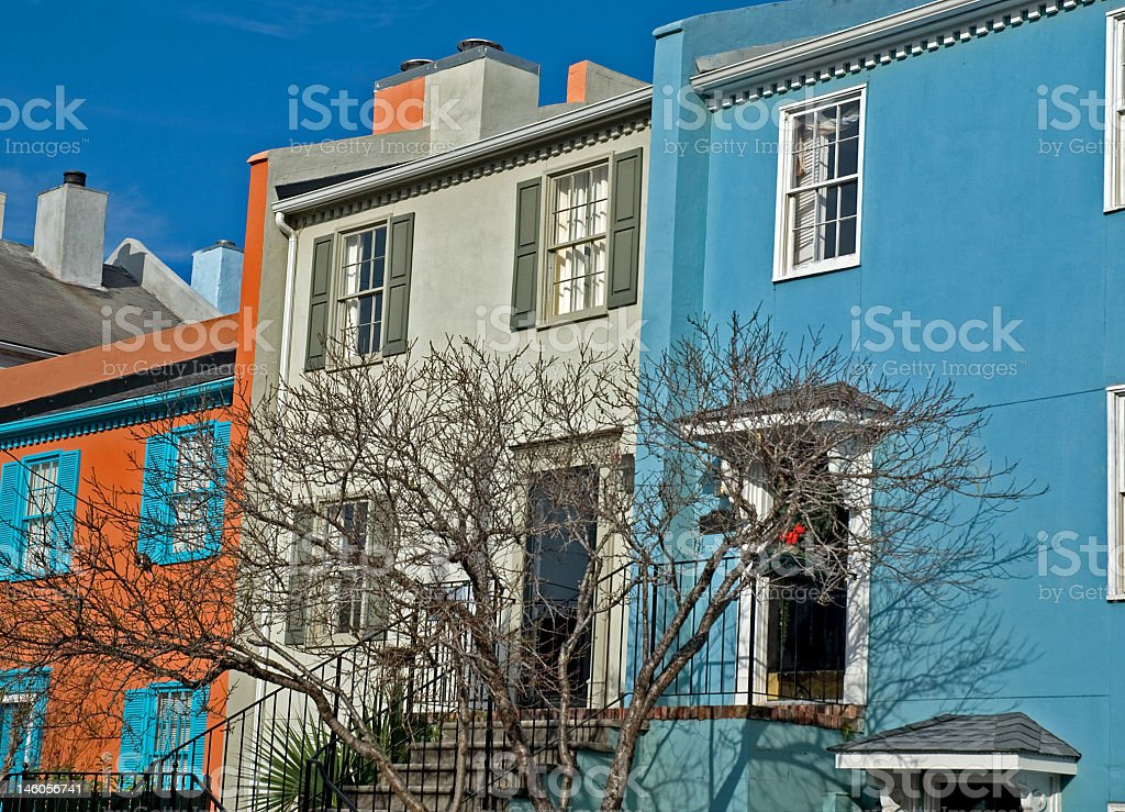 Colorful Homes of Charleston royalty-free stock photo