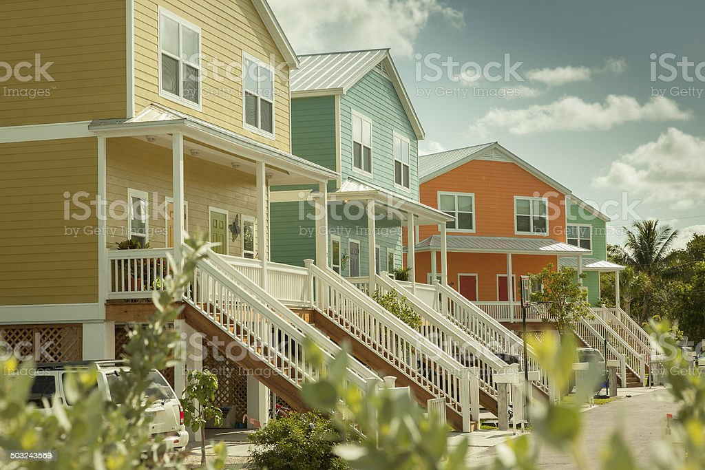 Colorful Homes on the Keys stock photo