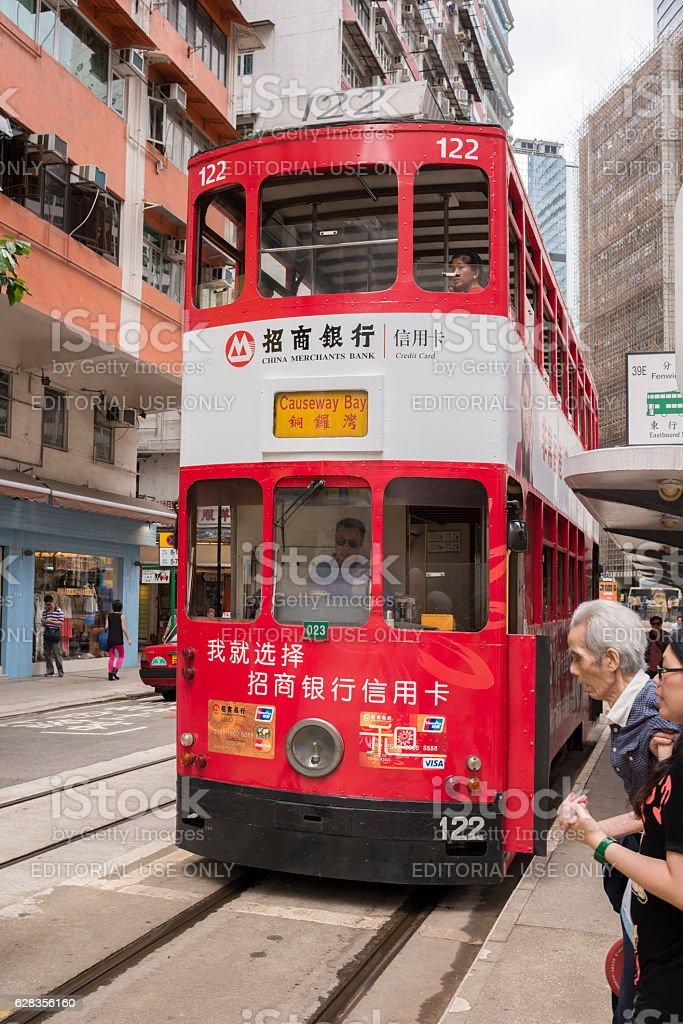 Colorful Hong Kong double-decker tram stock photo