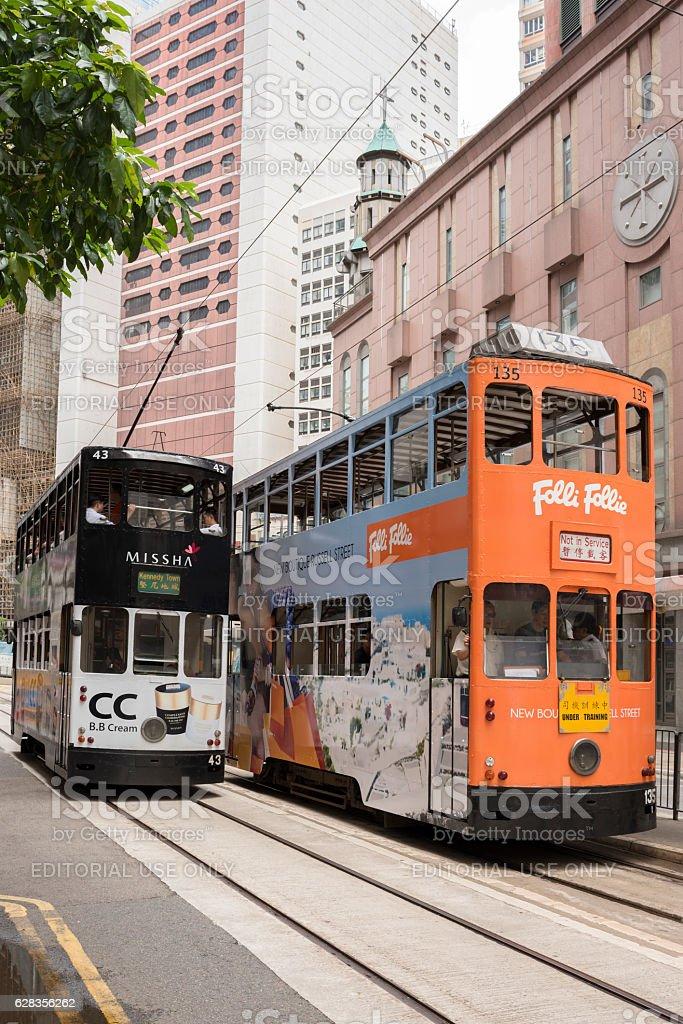 Colorful Hong Kong double-decker trams stock photo