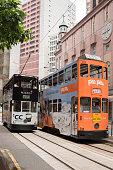Colorful Hong Kong double-decker trams