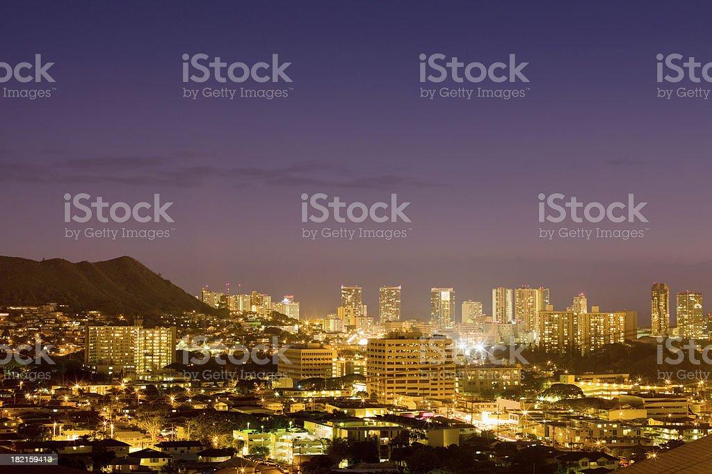 Colorful Honolulu Twilight Skyline Hawaii royalty-free stock photo