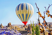 Colorful hot air balloon flying over the valley at Cappadocia