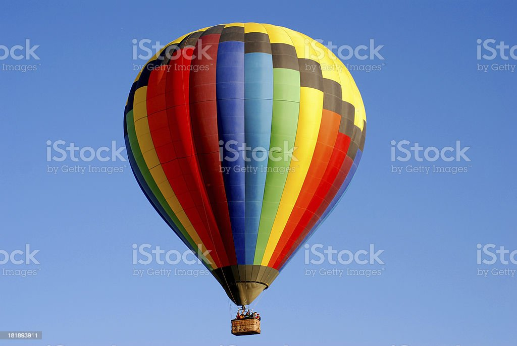 Colorful Hot Air Balloon on a Deep Blue Sky royalty-free stock photo