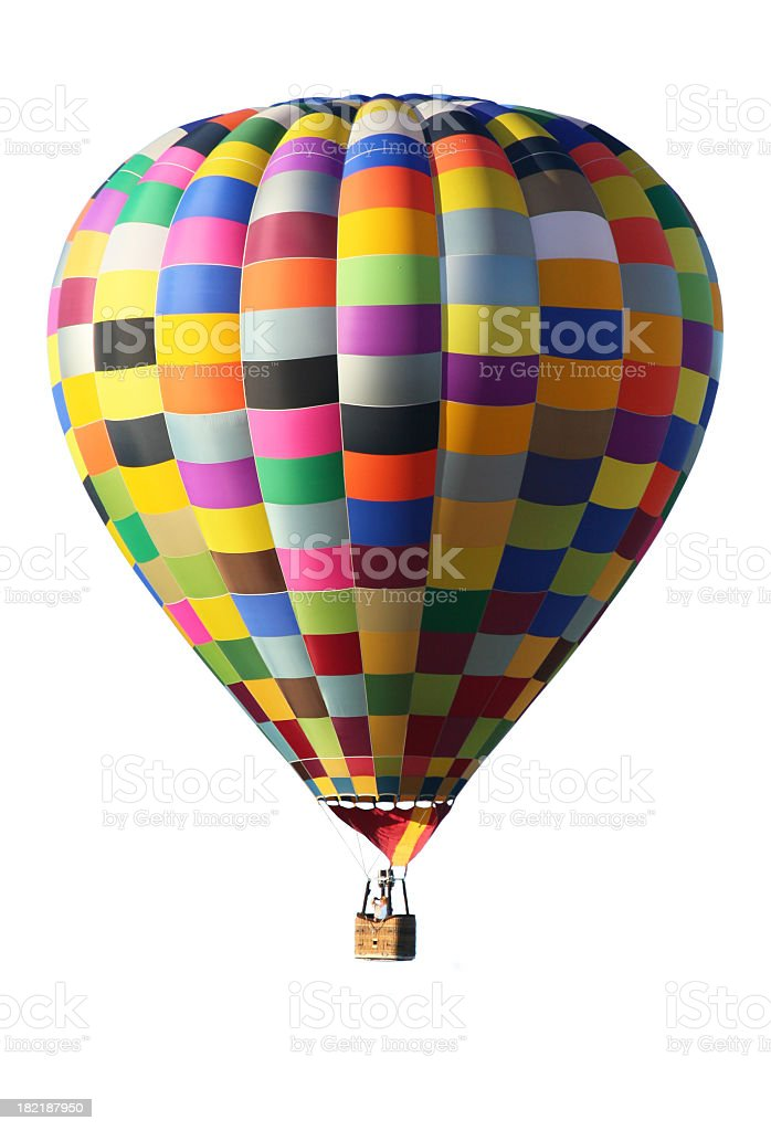 Colorful hot air balloon over a white background royalty-free stock photo