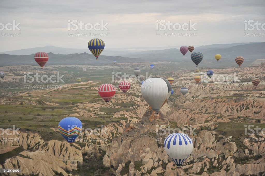 Colorful hot air balloons against sky stock photo