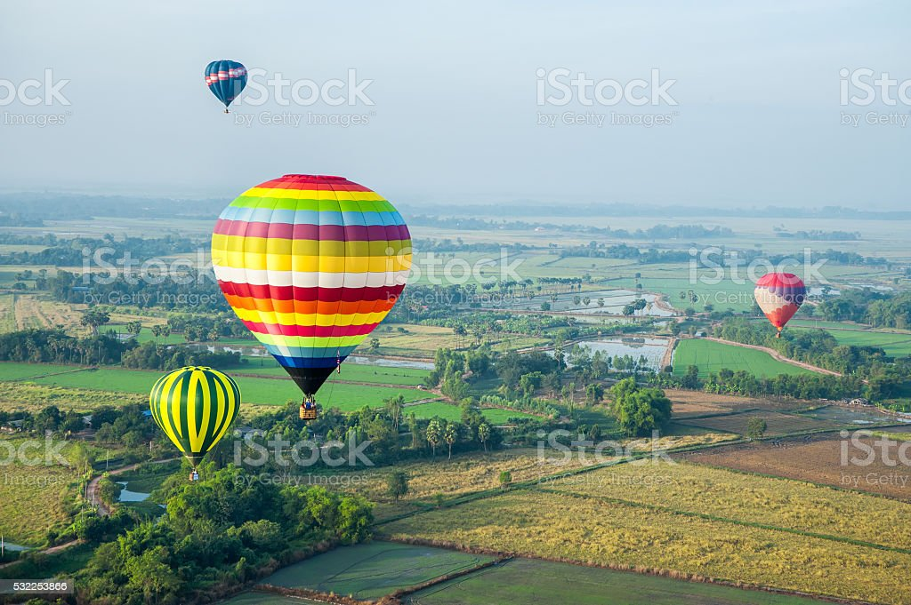 Colorful hot air balloons over green rice field. stock photo