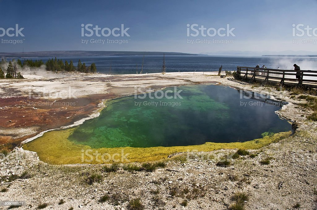 Colorful hot spring near Lake Yellowstone, USA stock photo