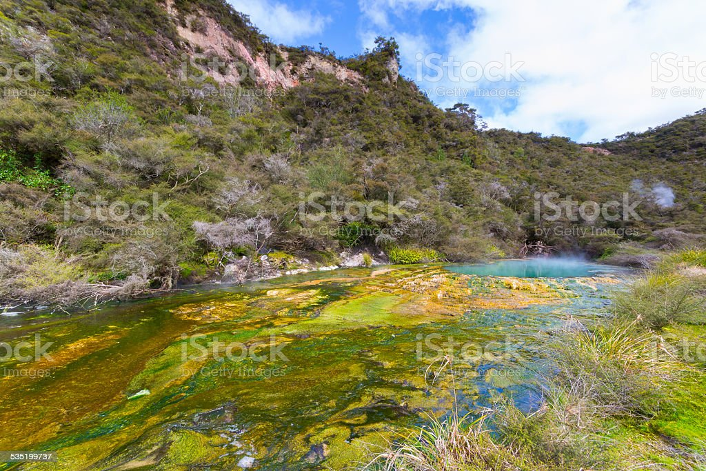 Colorful hot spring stock photo